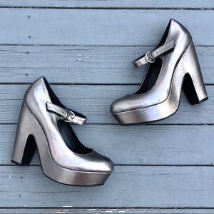 Dolce Vita Shoes - Dolce Vita Metallic Silver Mary Jane Platforms 8